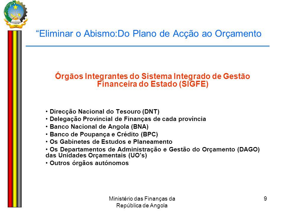"""Ministério das Finanças da República de Angola 9 """"Eliminar o Abismo:Do Plano de Acção ao Orçamento Órgãos Integrantes do Sistema Integrado de Gestão F"""