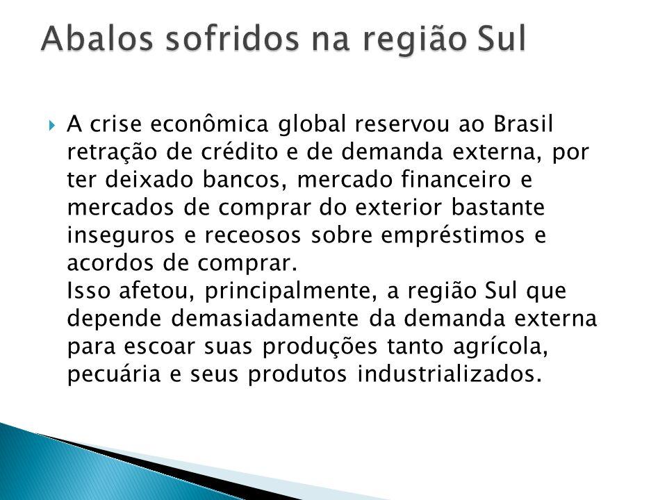  A crise econômica global reservou ao Brasil retração de crédito e de demanda externa, por ter deixado bancos, mercado financeiro e mercados de compr