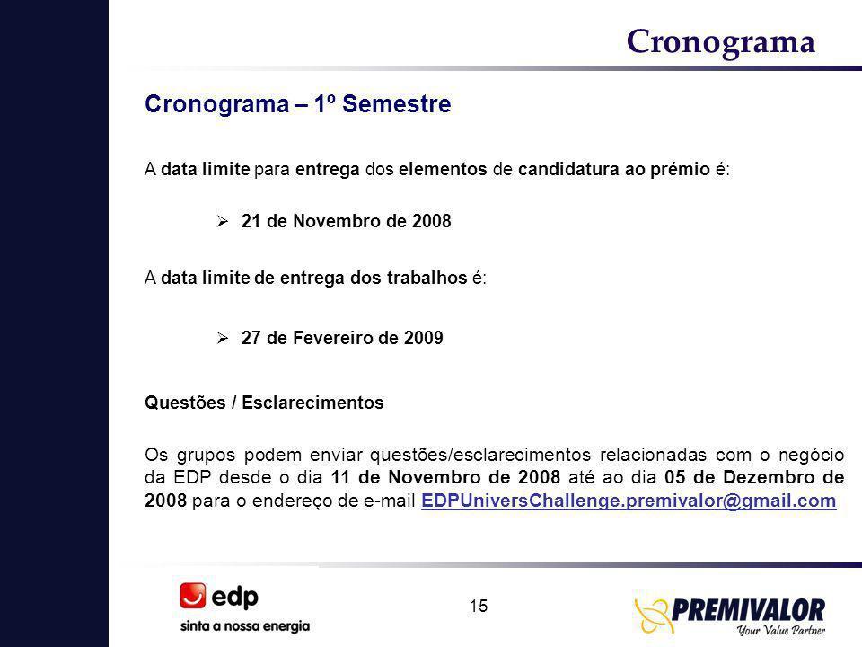 15 Cronograma  21 de Novembro de 2008 A data limite de entrega dos trabalhos é: A data limite para entrega dos elementos de candidatura ao prémio é: