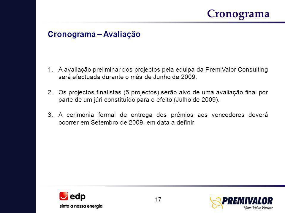 17 Cronograma Cronograma – Avaliação 1.A avaliação preliminar dos projectos pela equipa da PremiValor Consulting será efectuada durante o mês de Junho de 2009.