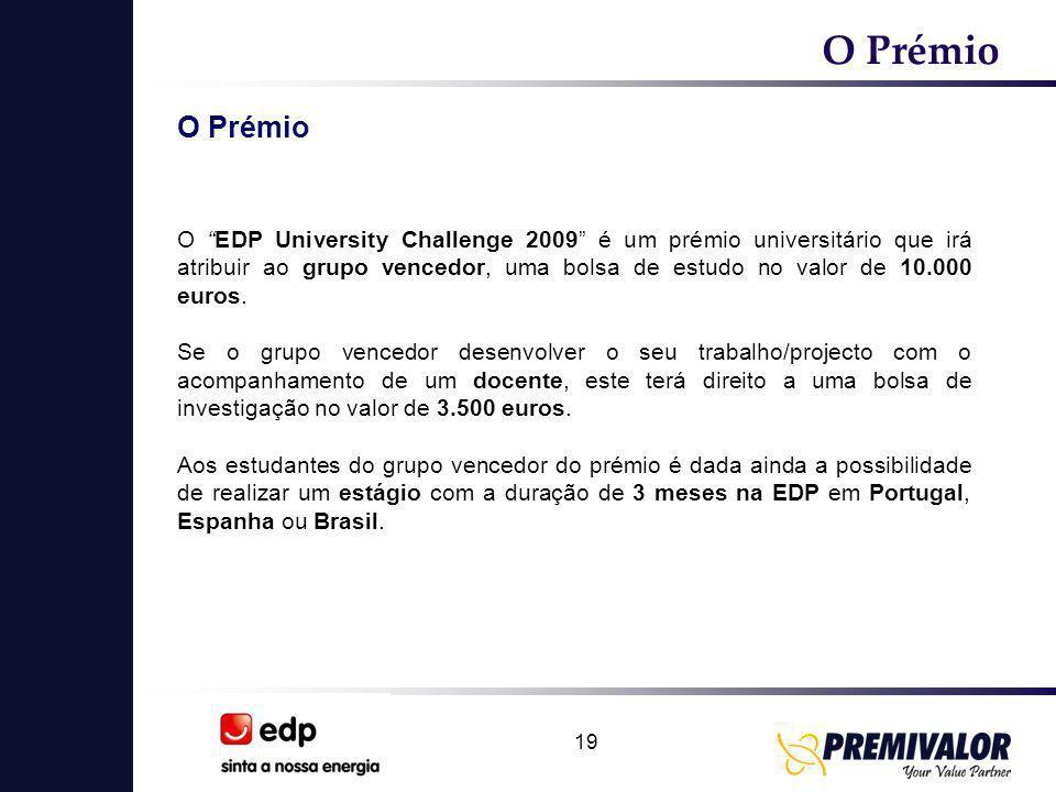 19 O Prémio O EDP University Challenge 2009 é um prémio universitário que irá atribuir ao grupo vencedor, uma bolsa de estudo no valor de 10.000 euros.