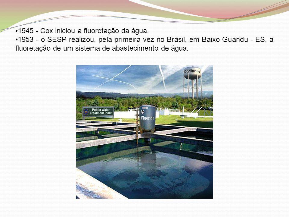 •1945 - Cox iniciou a fluoretação da água. •1953 - o SESP realizou, pela primeira vez no Brasil, em Baixo Guandu - ES, a fluoretação de um sistema de