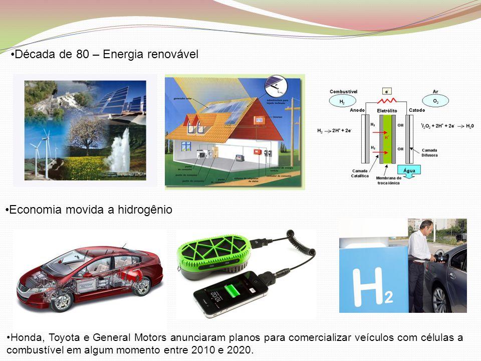 •Década de 80 – Energia renovável •Economia movida a hidrogênio •Honda, Toyota e General Motors anunciaram planos para comercializar veículos com célu