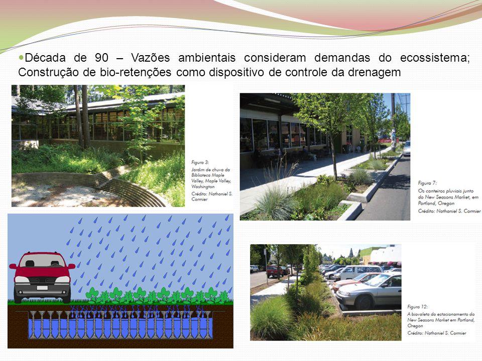  Década de 90 – Vazões ambientais consideram demandas do ecossistema; Construção de bio-retenções como dispositivo de controle da drenagem