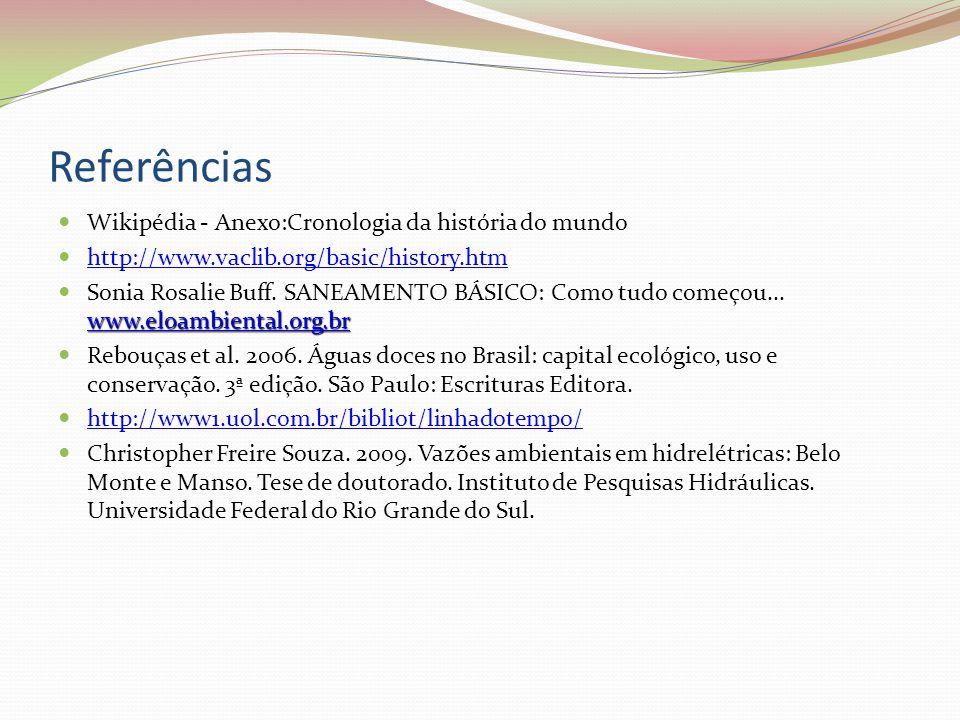 Referências  Wikipédia - Anexo:Cronologia da história do mundo  http://www.vaclib.org/basic/history.htm http://www.vaclib.org/basic/history.htm www.