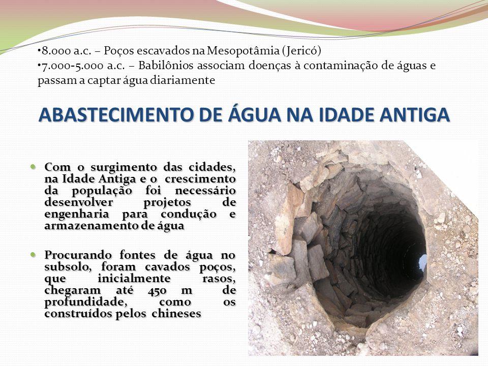 ABASTECIMENTO DE ÁGUA NA IDADE ANTIGA  Com o surgimento das cidades, na Idade Antiga e o crescimento da população foi necessário desenvolver projetos