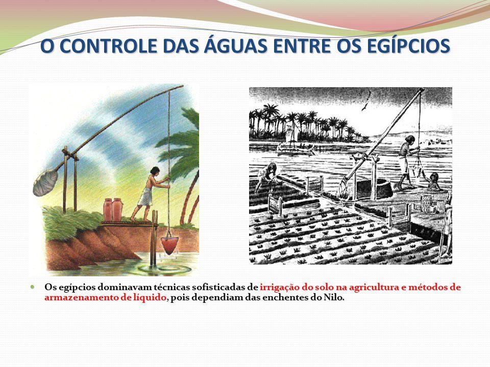 O CONTROLE DAS ÁGUAS ENTRE OS EGÍPCIOS  Os egípcios dominavam técnicas sofisticadas de irrigação do solo na agricultura e métodos de armazenamento de