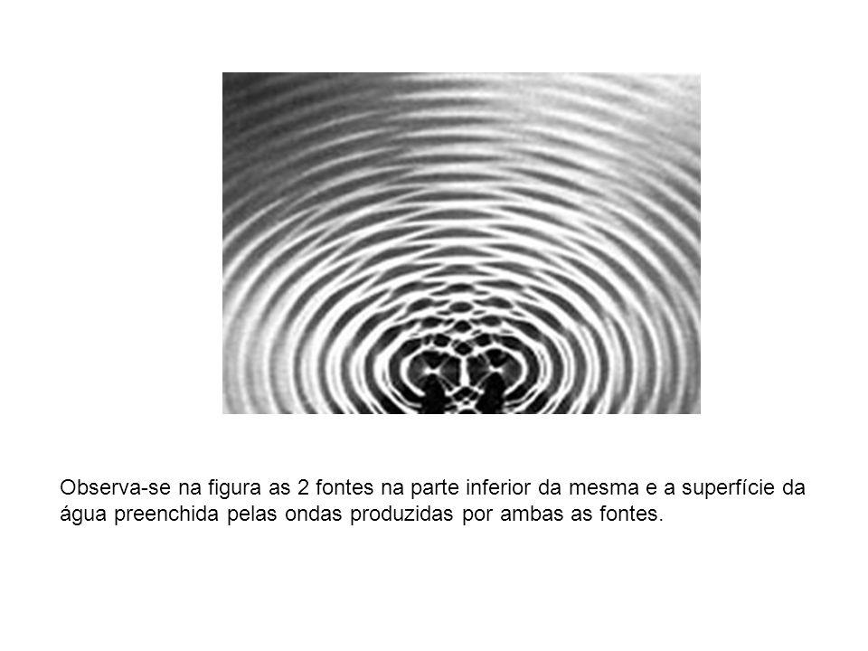 Observa-se na figura as 2 fontes na parte inferior da mesma e a superfície da água preenchida pelas ondas produzidas por ambas as fontes.