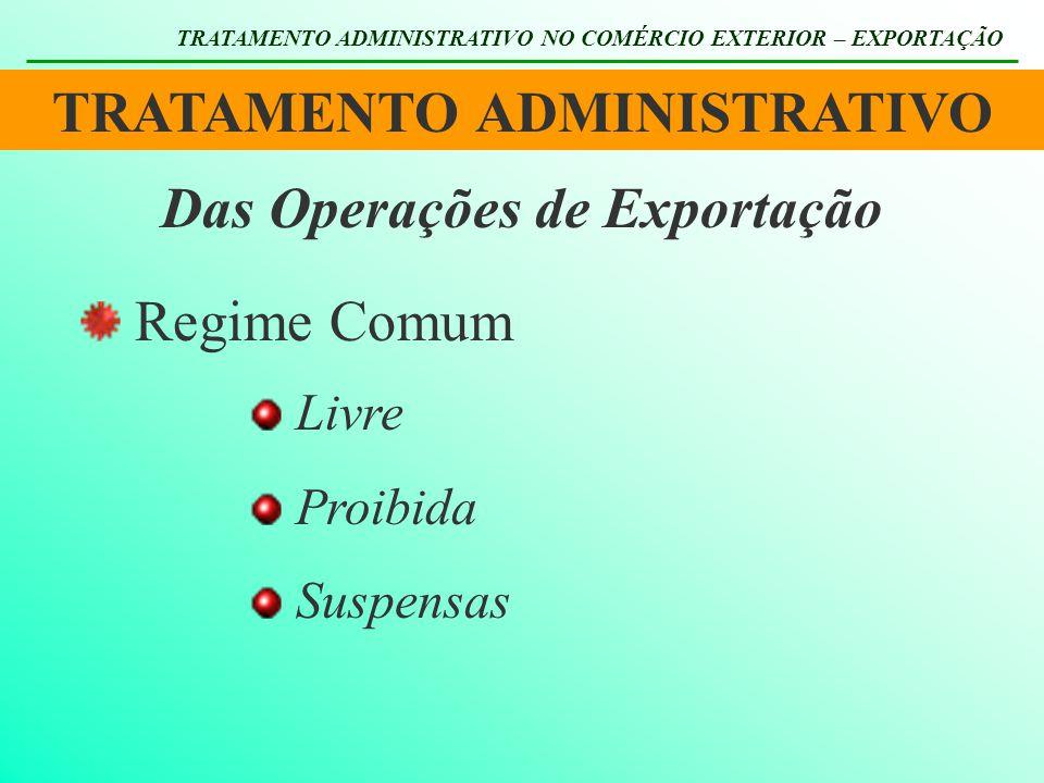 TRATAMENTO ADMINISTRATIVO TRATAMENTO ADMINISTRATIVO NO COMÉRCIO EXTERIOR – EXPORTAÇÃO Das Operações de Exportação Regime Comum Livre Proibida Suspensa