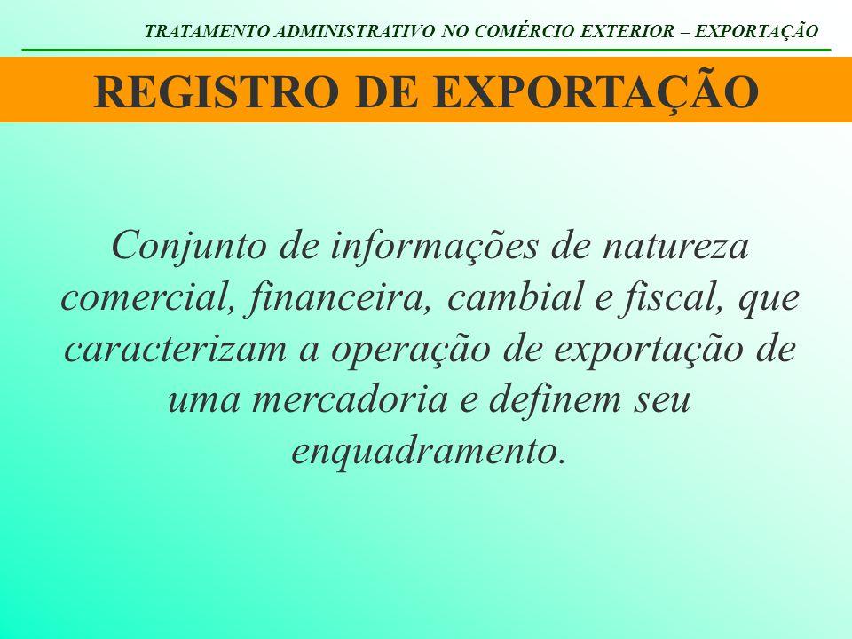 REGISTRO DE EXPORTAÇÃO TRATAMENTO ADMINISTRATIVO NO COMÉRCIO EXTERIOR – EXPORTAÇÃO Conjunto de informações de natureza comercial, financeira, cambial