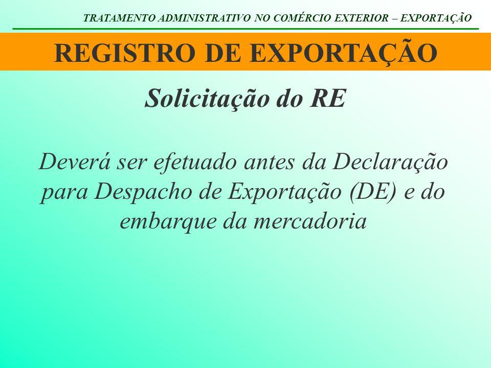 REGISTRO DE EXPORTAÇÃO TRATAMENTO ADMINISTRATIVO NO COMÉRCIO EXTERIOR – EXPORTAÇÃO Deverá ser efetuado antes da Declaração para Despacho de Exportação