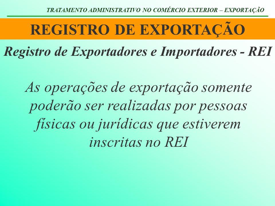 REGISTRO DE EXPORTAÇÃO TRATAMENTO ADMINISTRATIVO NO COMÉRCIO EXTERIOR – EXPORTAÇÃO Registro de Exportadores e Importadores - REI As operações de expor