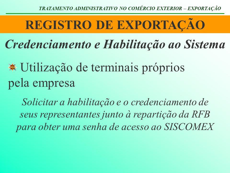 REGISTRO DE EXPORTAÇÃO TRATAMENTO ADMINISTRATIVO NO COMÉRCIO EXTERIOR – EXPORTAÇÃO Utilização de terminais próprios pela empresa Credenciamento e Habi