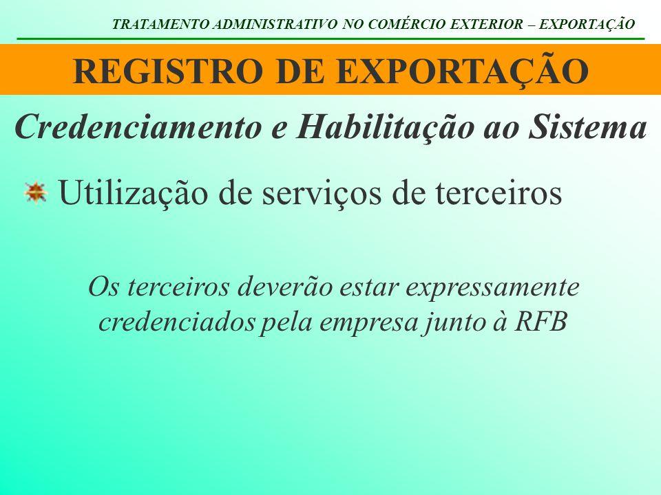 REGISTRO DE EXPORTAÇÃO TRATAMENTO ADMINISTRATIVO NO COMÉRCIO EXTERIOR – EXPORTAÇÃO Utilização de serviços de terceiros Credenciamento e Habilitação ao