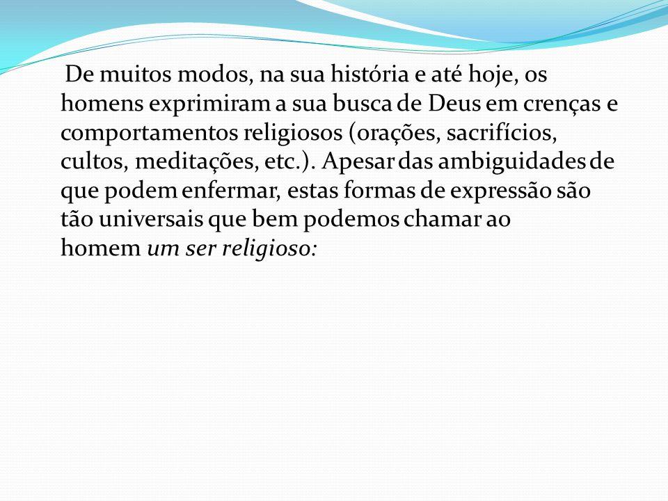 De muitos modos, na sua história e até hoje, os homens exprimiram a sua busca de Deus em crenças e comportamentos religiosos (orações, sacrifícios, cu