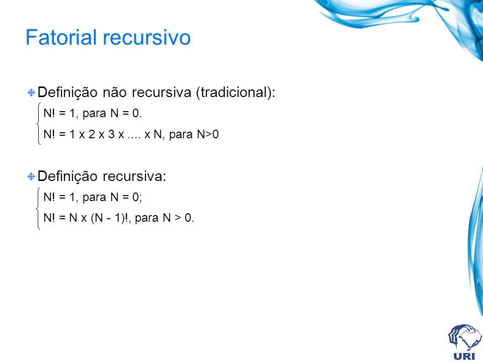 Fatorial recursivo Definição não recursiva (tradicional): N! = 1, para N = 0. N! = 1 x 2 x 3 x.... x N, para N>0 Definição recursiva: N! = 1, para N =