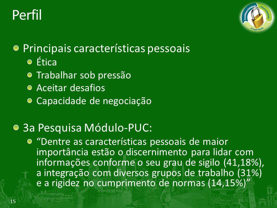 """15 Perfil Principais características pessoais Ética Trabalhar sob pressão Aceitar desafios Capacidade de negociação 3a Pesquisa Módulo-PUC: """"Dentre as"""
