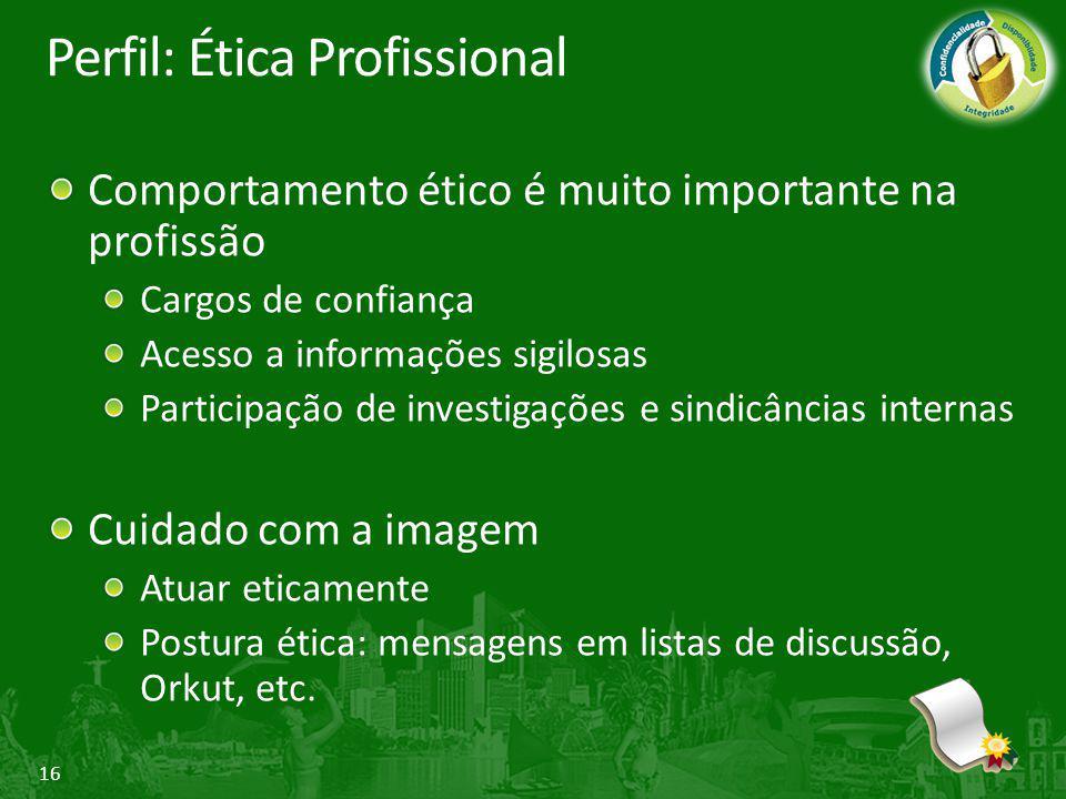 16 Perfil: Ética Profissional Comportamento ético é muito importante na profissão Cargos de confiança Acesso a informações sigilosas Participação de i