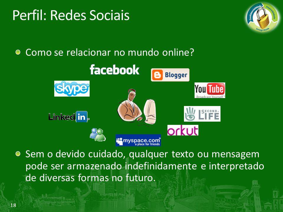 18 Perfil: Redes Sociais Como se relacionar no mundo online? Sem o devido cuidado, qualquer texto ou mensagem pode ser armazenado indefinidamente e in
