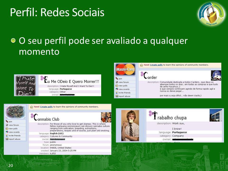 20 Perfil: Redes Sociais O seu perfil pode ser avaliado a qualquer momento