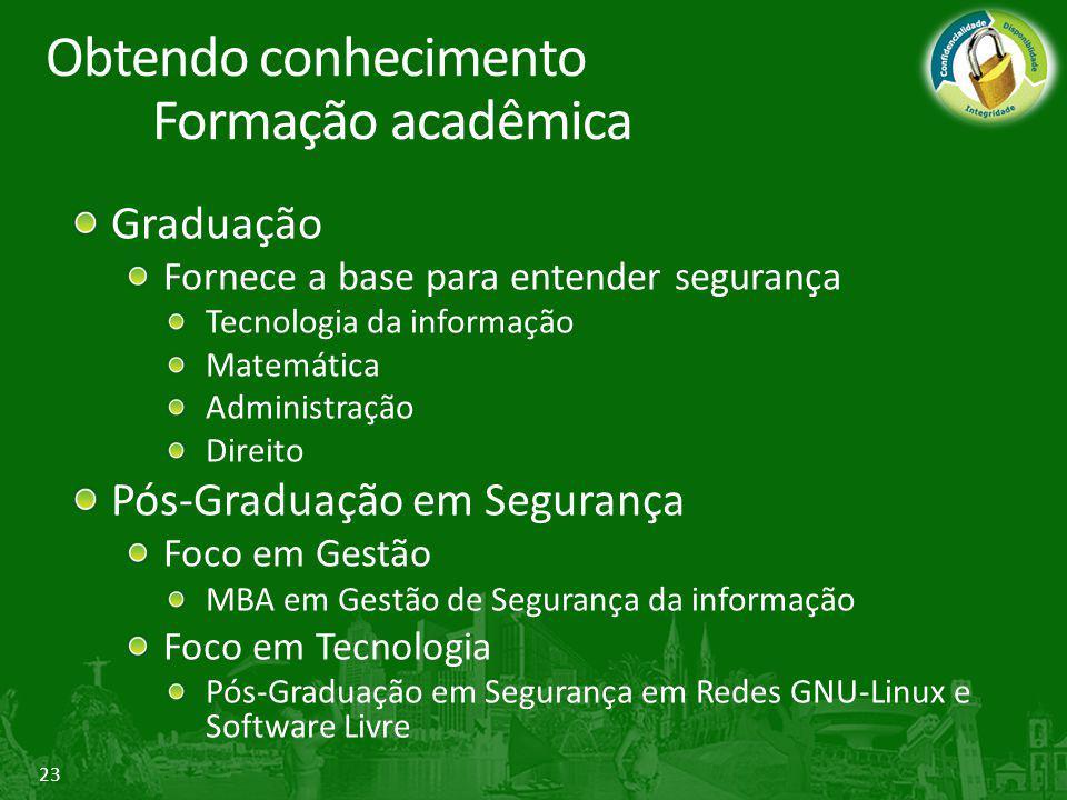23 Graduação Fornece a base para entender segurança Tecnologia da informação Matemática Administração Direito Pós-Graduação em Segurança Foco em Gestã