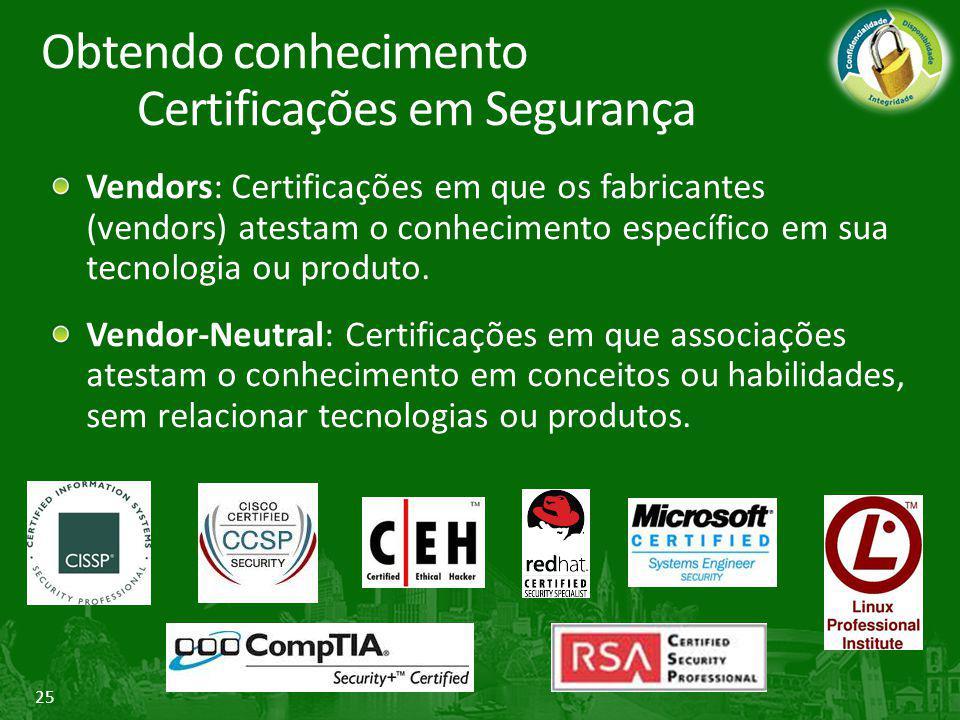 25 Vendors: Certificações em que os fabricantes (vendors) atestam o conhecimento específico em sua tecnologia ou produto. Vendor-Neutral: Certificaçõe