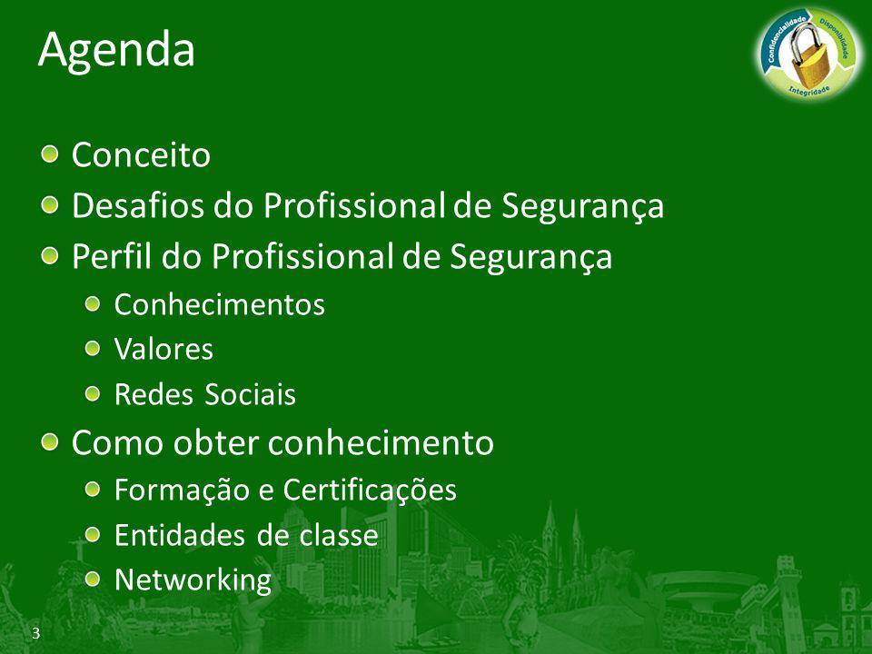 3 Agenda Conceito Desafios do Profissional de Segurança Perfil do Profissional de Segurança Conhecimentos Valores Redes Sociais Como obter conheciment