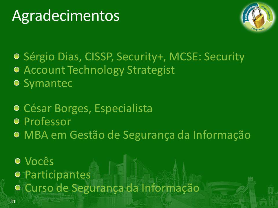 31 Agradecimentos Sérgio Dias, CISSP, Security+, MCSE: Security Account Technology Strategist Symantec César Borges, Especialista Professor MBA em Ges