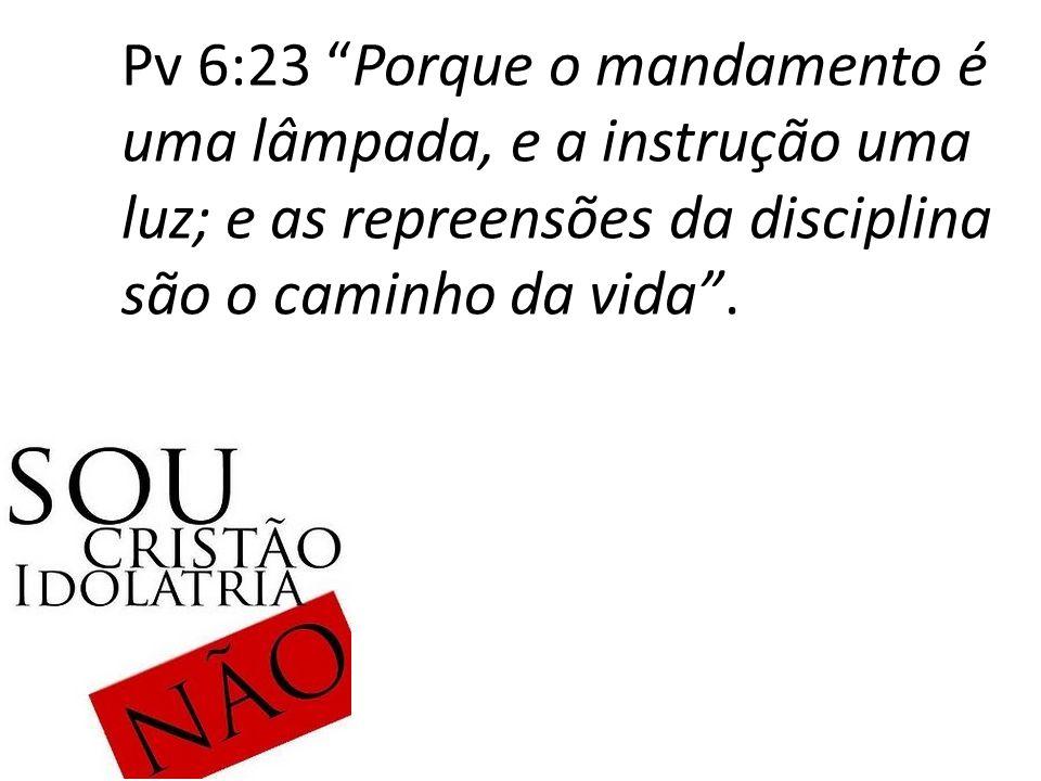 """Pv 6:23 """"Porque o mandamento é uma lâmpada, e a instrução uma luz; e as repreensões da disciplina são o caminho da vida""""."""