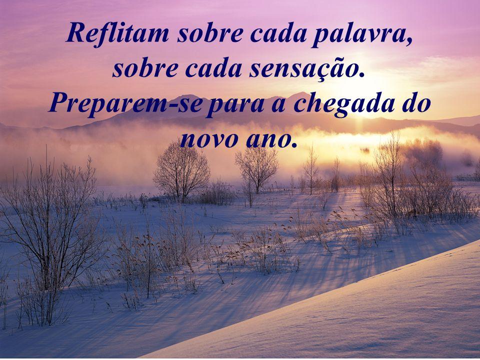 Reflitam sobre cada palavra, sobre cada sensação. Preparem-se para a chegada do novo ano.