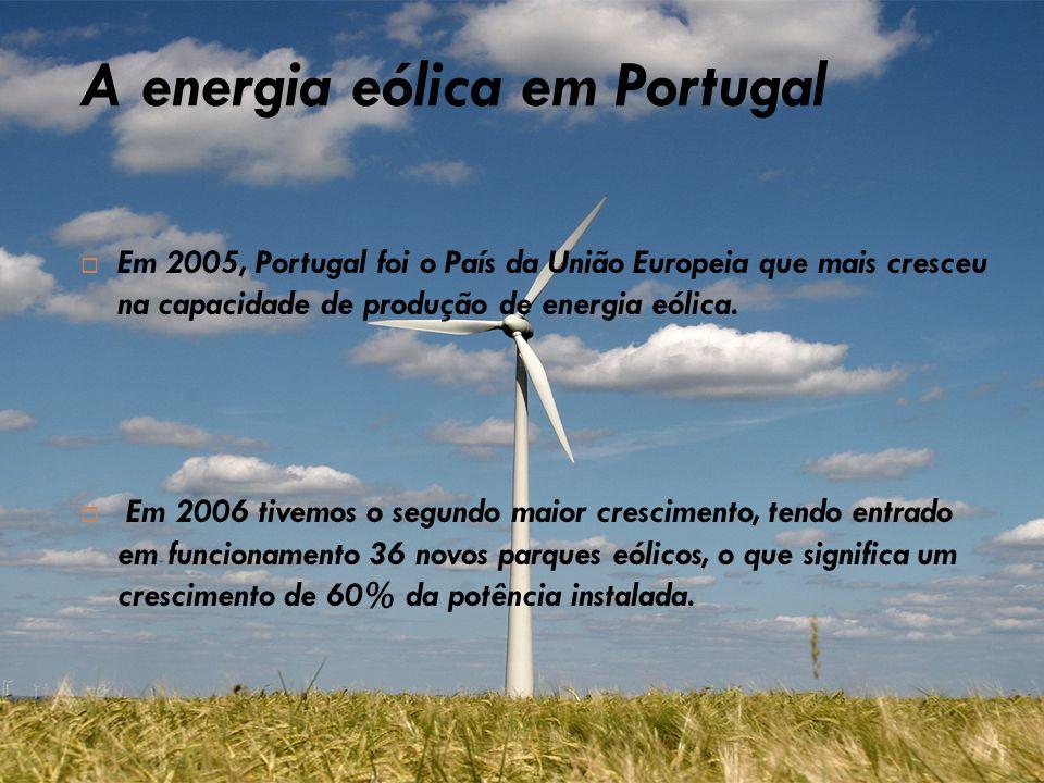 A energia eólica em Portugal  Em 2005, Portugal foi o País da União Europeia que mais cresceu na capacidade de produção de energia eólica.  Em 2006