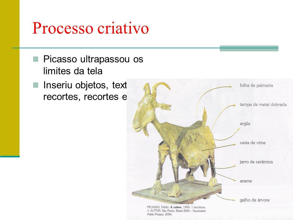 Processo criativo  Picasso ultrapassou os limites da tela  Inseriu objetos, textos, recortes, recortes etc