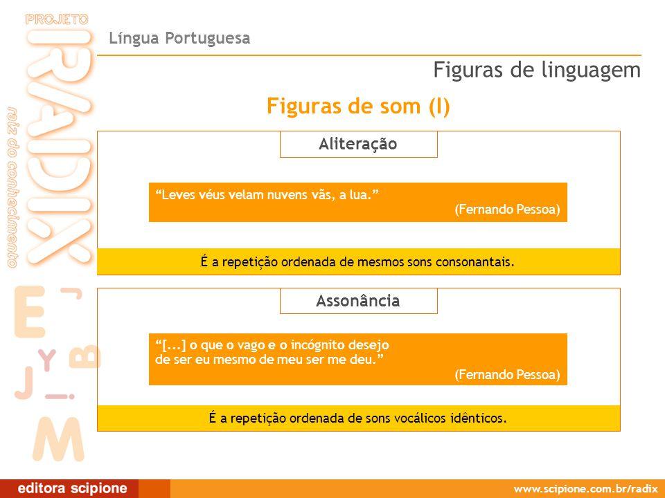 Língua Portuguesa www.scipione.com.br/radix Aliteração É a repetição ordenada de mesmos sons consonantais.
