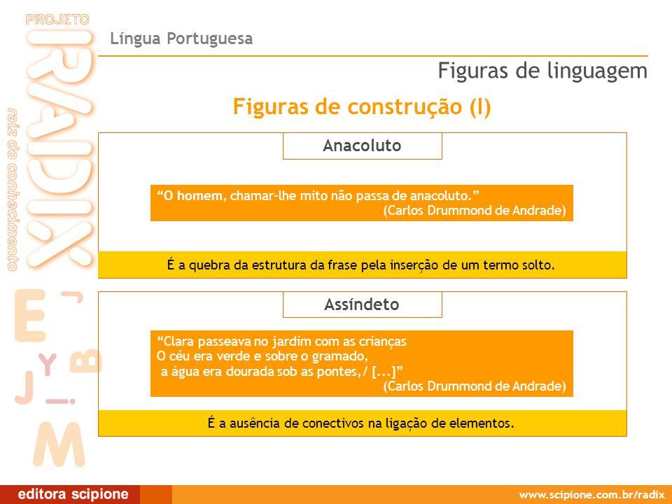 Língua Portuguesa www.scipione.com.br/radix Anacoluto É a quebra da estrutura da frase pela inserção de um termo solto.