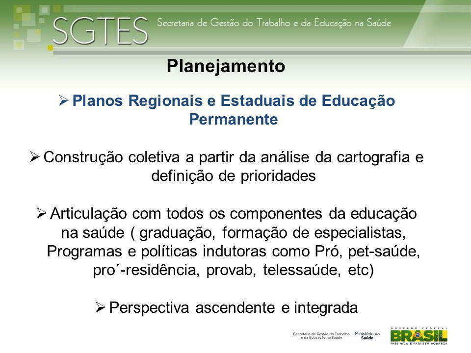 26 Planejamento  Planos Regionais e Estaduais de Educação Permanente  Construção coletiva a partir da análise da cartografia e definição de priorida