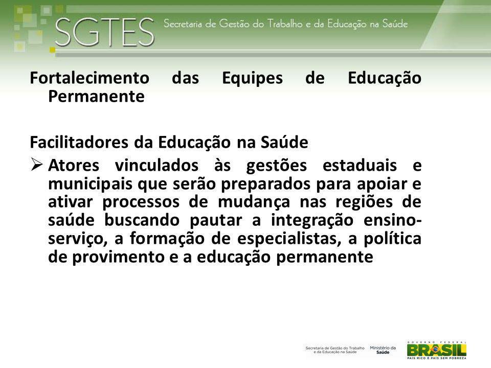 Fortalecimento das Equipes de Educação Permanente Facilitadores da Educação na Saúde  Atores vinculados às gestões estaduais e municipais que serão p