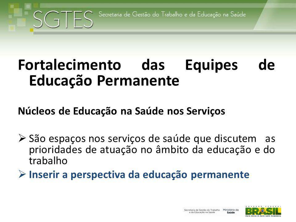 Fortalecimento das Equipes de Educação Permanente Núcleos de Educação na Saúde nos Serviços  São espaços nos serviços de saúde que discutem as priori