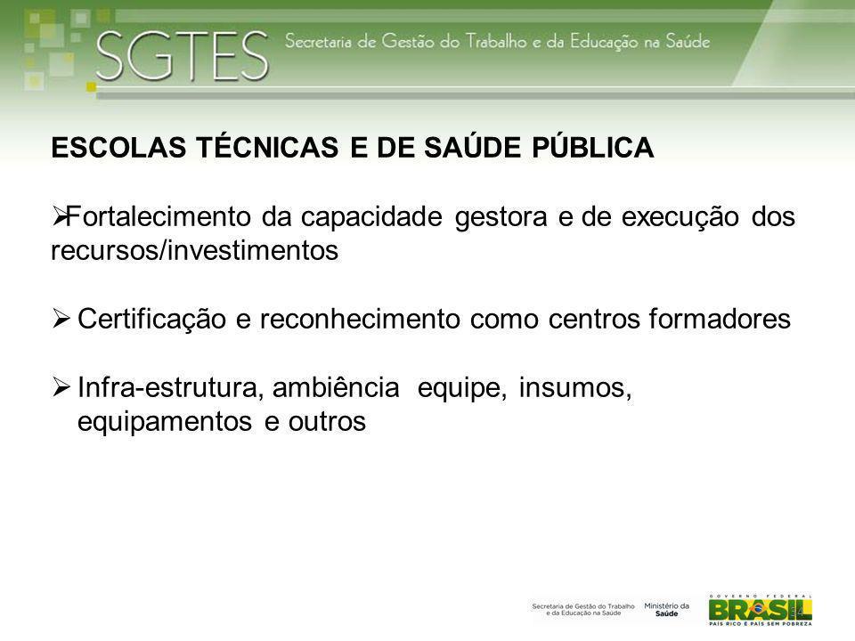 34 ESCOLAS TÉCNICAS E DE SAÚDE PÚBLICA  Fortalecimento da capacidade gestora e de execução dos recursos/investimentos  Certificação e reconhecimento