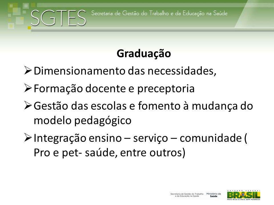 Graduação  Dimensionamento das necessidades,  Formação docente e preceptoria  Gestão das escolas e fomento à mudança do modelo pedagógico  Integra