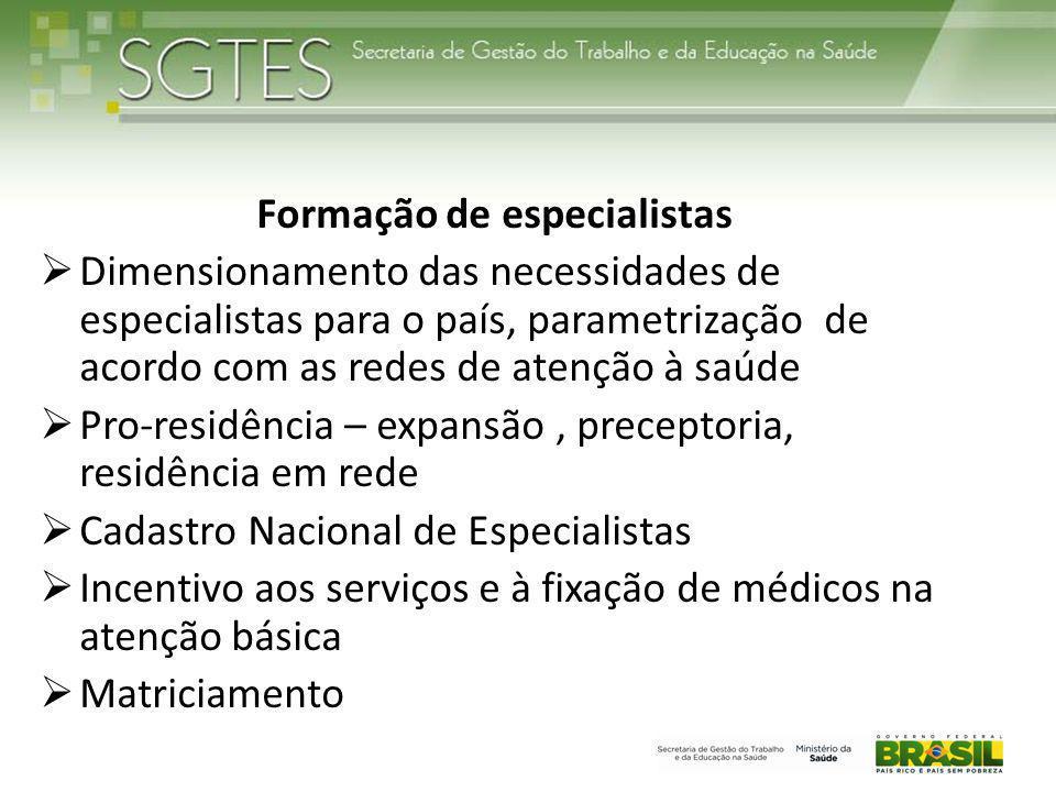 Formação de especialistas  Dimensionamento das necessidades de especialistas para o país, parametrização de acordo com as redes de atenção à saúde 