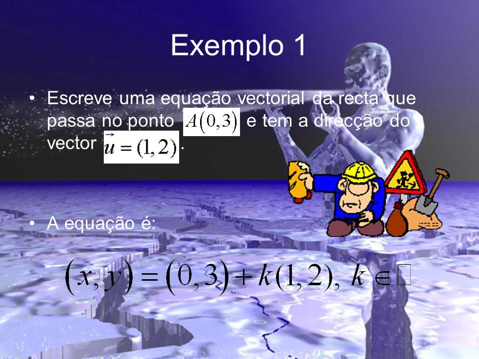 Exemplo 1 •Escreve uma equação vectorial da recta que passa no ponto e tem a direcção do vector. •A equação é: