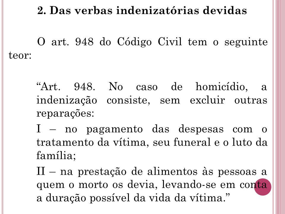 """2. Das verbas indenizatórias devidas O art. 948 do Código Civil tem o seguinte teor: """"Art. 948. No caso de homicídio, a indenização consiste, sem excl"""