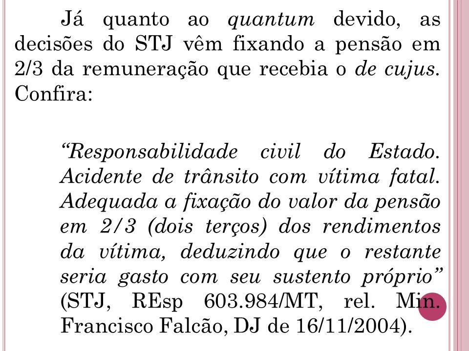 """Já quanto ao quantum devido, as decisões do STJ vêm fixando a pensão em 2/3 da remuneração que recebia o de cujus. Confira: """"Responsabilidade civil do"""