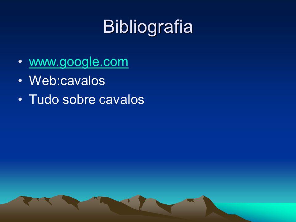 Bibliografia •www.google.comwww.google.com •Web:cavalos •Tudo sobre cavalos