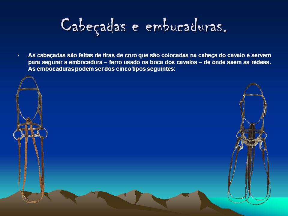 Cabeçadas e embucaduras. •A•As cabeçadas são feitas de tiras de coro que são colocadas na cabeça do cavalo e servem para segurar a embocadura – ferro