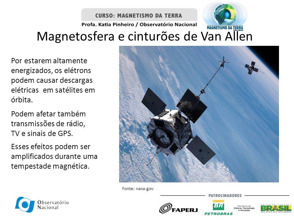 Magnetosfera e cinturões de Van Allen Por estarem altamente energizados, os elétrons podem causar descargas elétricas em satélites em órbita. Podem af