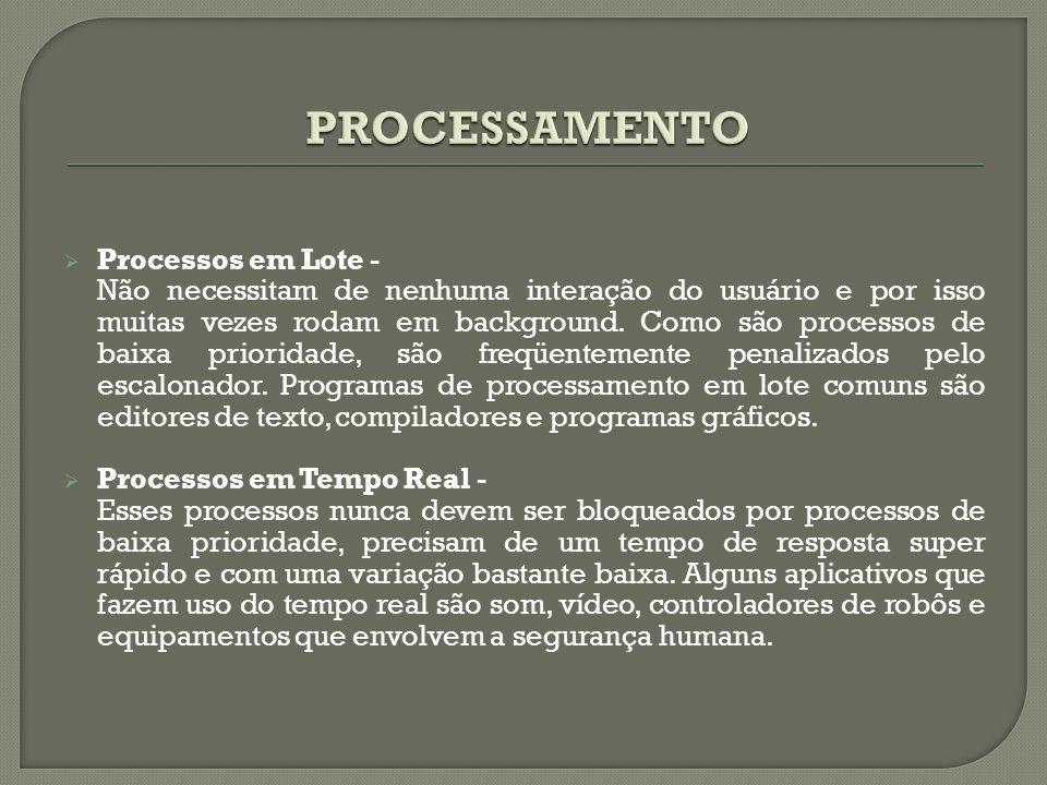  Processos em Lote - Não necessitam de nenhuma interação do usuário e por isso muitas vezes rodam em background. Como são processos de baixa priorida