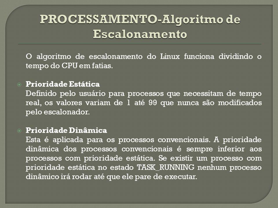 O algoritmo de escalonamento do Linux funciona dividindo o tempo do CPU em fatias.  Prioridade Estática Definido pelo usuário para processos que nece