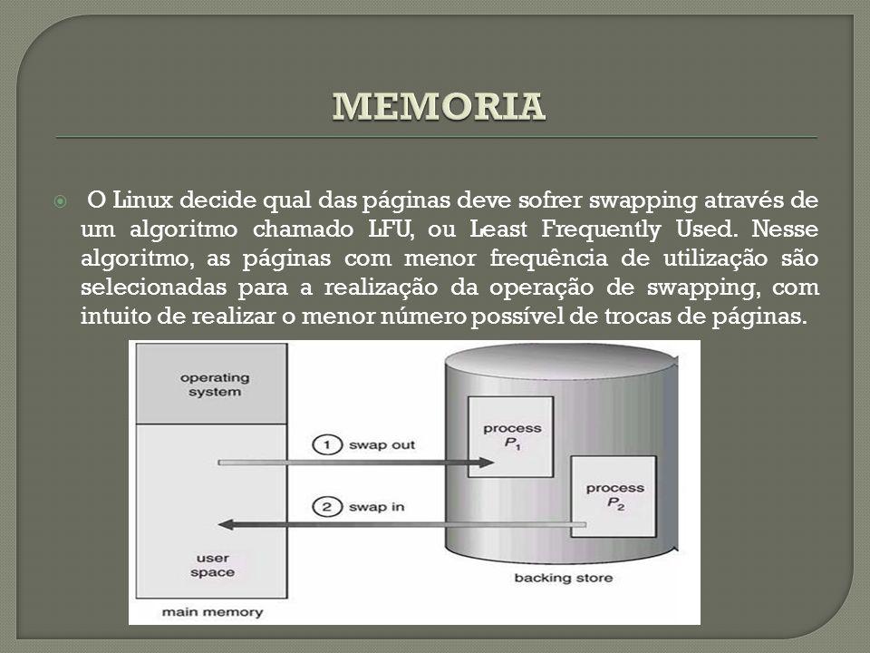  O Linux decide qual das páginas deve sofrer swapping através de um algoritmo chamado LFU, ou Least Frequently Used. Nesse algoritmo, as páginas com
