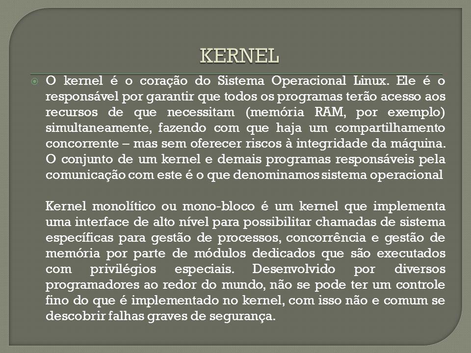  O kernel é o coração do Sistema Operacional Linux. Ele é o responsável por garantir que todos os programas terão acesso aos recursos de que necessit